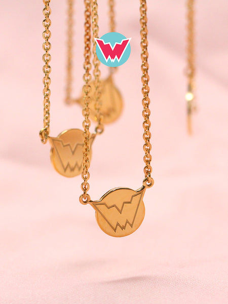 [WOMANDIRI] SUPERWOMAN Emblem Necklace 16.8k Yellow Gold Dip