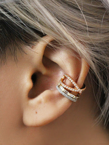 PIPER Pave Conch Ear Cuff 925 Sterling Silver & Gold Dip