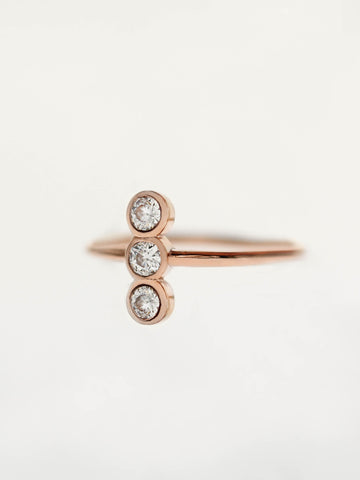 MOONLIGHT TRIO Zirconia Ring 14k Rose Gold Dip