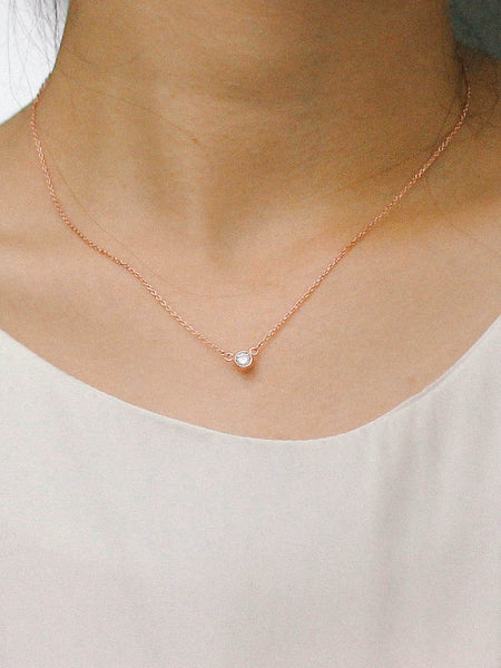 AYLA MOONLIGHT Zirconia Necklace 14k Rose Gold Dip