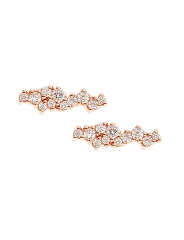 SUPERNOVA Zirconia Ear Studs 14k Rose Gold Dip