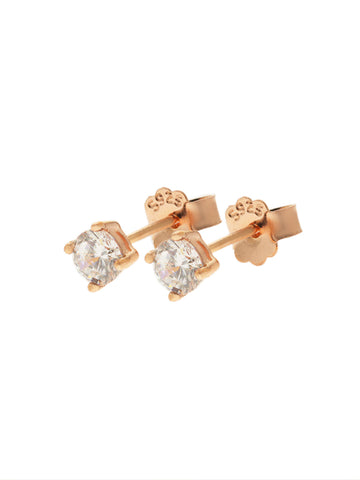 SERAPHINA Zirconia Ear Studs 0.4cm (Large) 14k Rose Gold Dip
