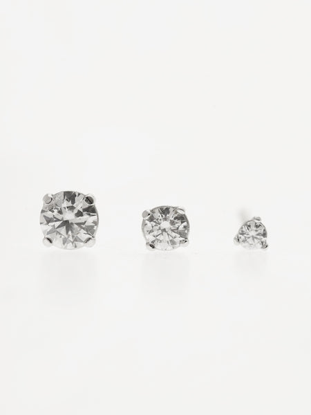 SERAPHINA Zirconia Ear Studs 0.3cm (Medium) 925 Sterling Silver