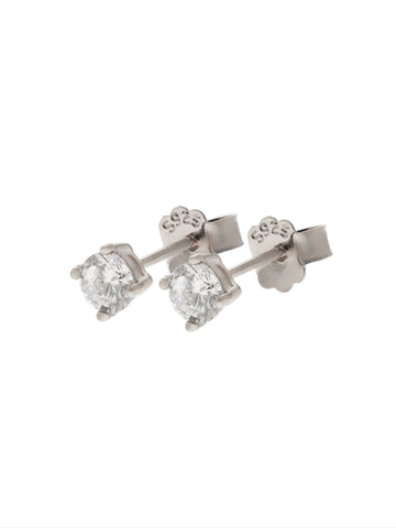 SERAPHINA Zirconia Ear Studs 0.4cm (Large) 925 Sterling Silver
