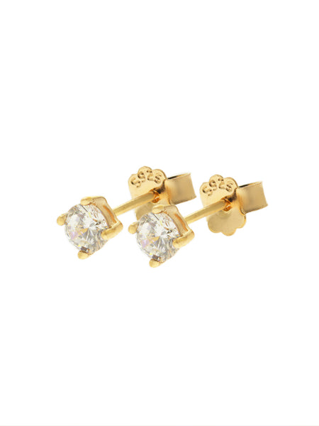 SERAPHINA Zirconia Ear Studs 0.4cm (Large) 16.8k Yellow Gold Dip