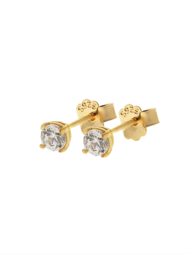 SERAPHINA Zirconia Ear Studs 0.3cm (Medium) 16.8k Yellow Gold Dip