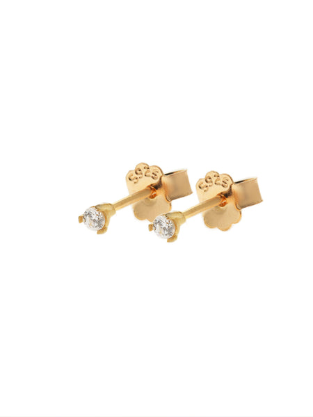 SERAPHINA Zirconia Ear Studs 0.2cm (Small) 16.8k Yellow Gold Dip