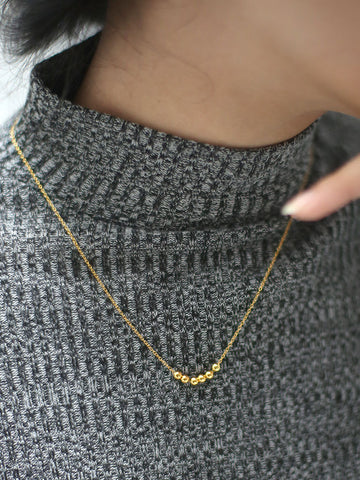 Adjustable Beads Charm Necklace 16.8k Yellow Gold Dip