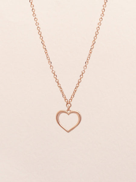 ADORE YOU Heart Necklace 14k Rose Gold Dip