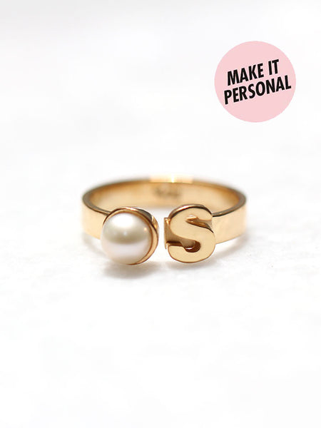 Personalized MONIQUE's Initial Pearl Ring 925 Sterling Silver & Gold Dip
