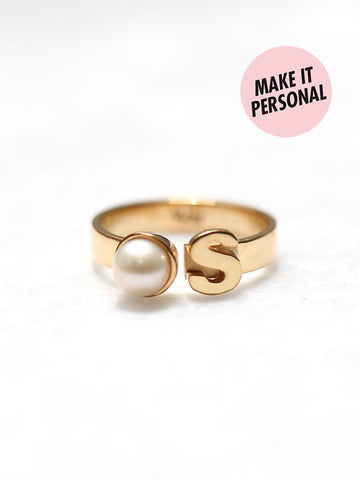 Personalized MONIQUE's Initial Pearl Ring