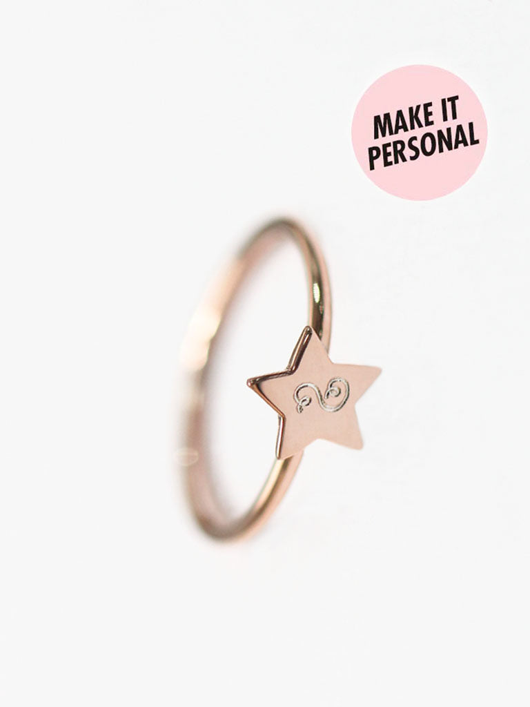 Engravable AURORA's Tiny Star Ring 925 Sterling Silver & Gold Dip