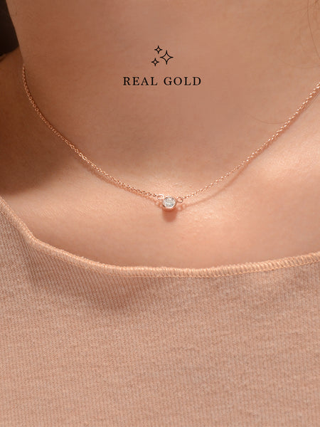 [REAL GOLD] AYLA Moonlight Zirconia Necklace 18k Rose Gold