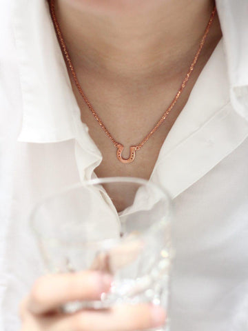 HORSESHOE Necklace 14k Rose Gold Dip