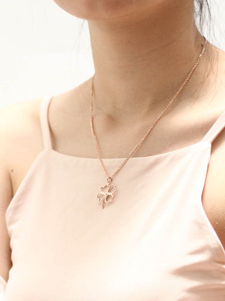 FOUR LEAF CLOVER Outline Necklace 14k Rose Gold Dip