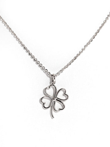 FOUR LEAF CLOVER Outline Necklace 925 Sterling Silver