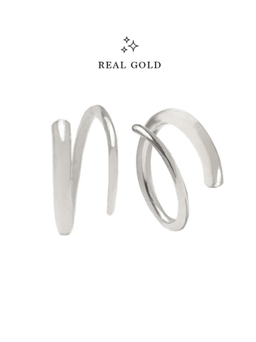 [REAL GOLD] COIL Earrings 18k White Gold