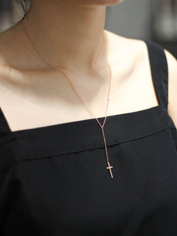 Cross Rosary Necklace 14k Rose Gold Dip