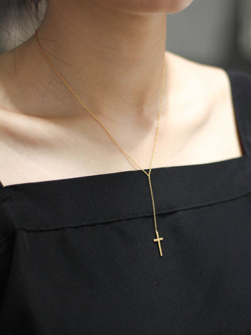 Cross Rosary Necklace 16.8k Yellow Gold Dip