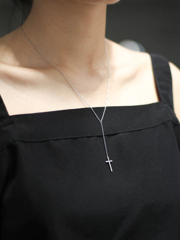 Cross Rosary Necklace 925 Sterling Silver