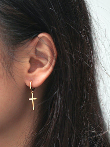 Vertical Cross Hoop Earrings 925 Sterling Silver & Gold Dips