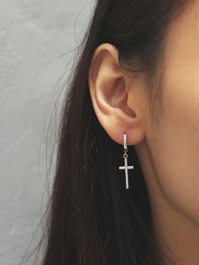 Zirconia Cross Hoop Earrings