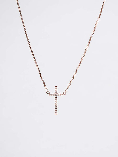 Vertical Zirconia Cross Necklace 14k Rose Gold Dip