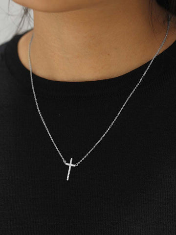 Vertical Zirconia Cross Necklace 925 Sterling Silver