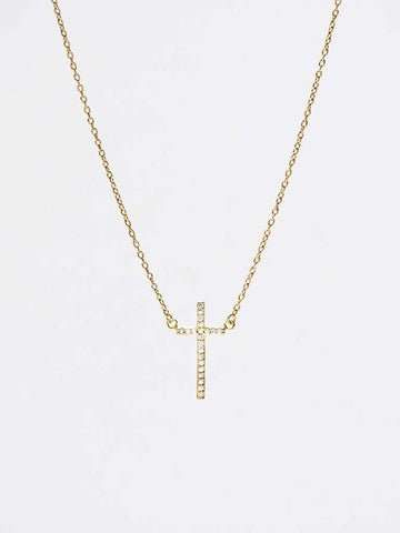 Vertical Zirconia Cross Necklace 16.8k Gold Dip