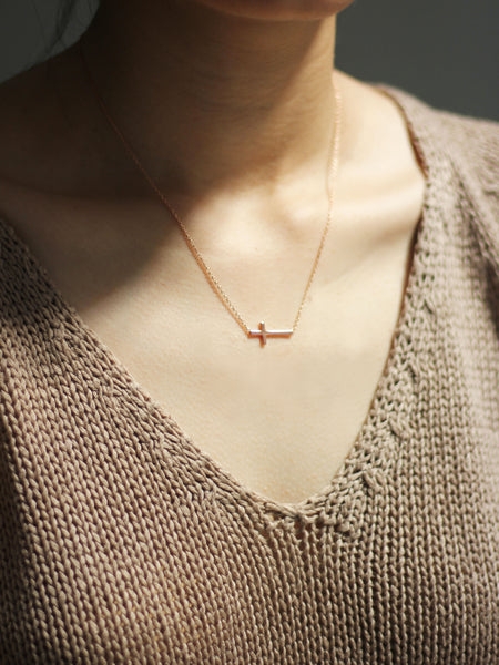 Sideways Cross Necklace 14k Rose Gold Dip
