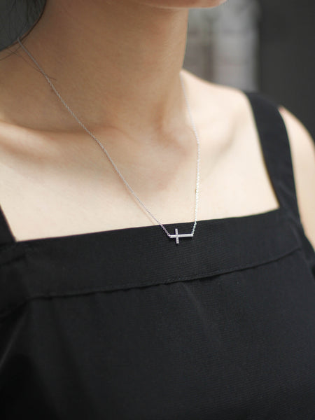 Zirconia Cross Necklace 925 Sterling Silver