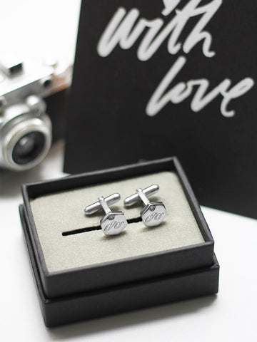 Engravable GODWIN's Hexagon Zirconia Cufflinks