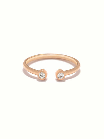 MOONLIGHT DUO Zirconia Ring 14k Rose Gold Dip