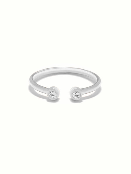 MOONLIGHT DUO Zirconia Ring 925 Sterling Silver