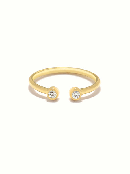 MOONLIGHT DUO Zirconia Ring 16.8k Yellow Gold Dip