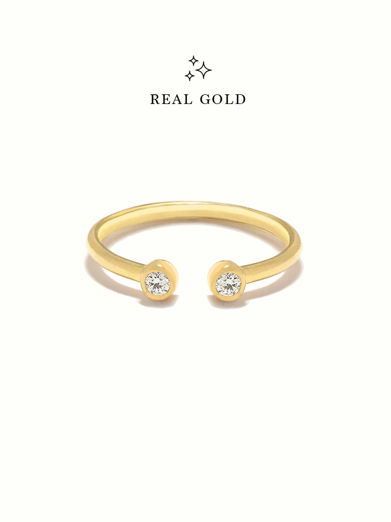 [REAL GOLD] MOONLIGHT DUO Ring 16.8k Yellow Gold