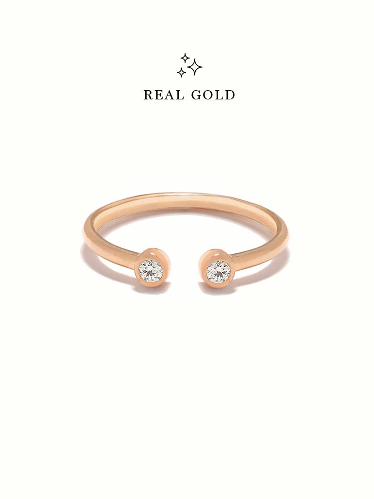 [REAL GOLD] MOONLIGHT DUO Ring 18k Rose Gold