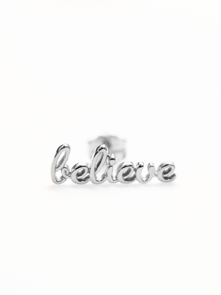 BELIEVE Ear Climber 925 Sterling Silver