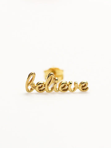 BELIEVE Ear Climber 16.8k Yellow Gold Dip