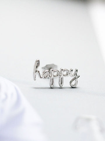 HAPPY Ear Climber 925 Sterling Silver