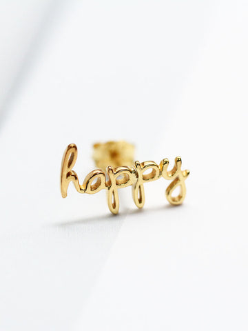 HAPPY Ear Climber 16.8k Yellow Gold Dip