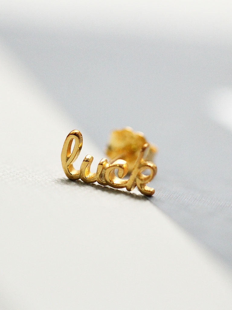 LUCK Ear Climber 16.8k Yellow Gold Dip