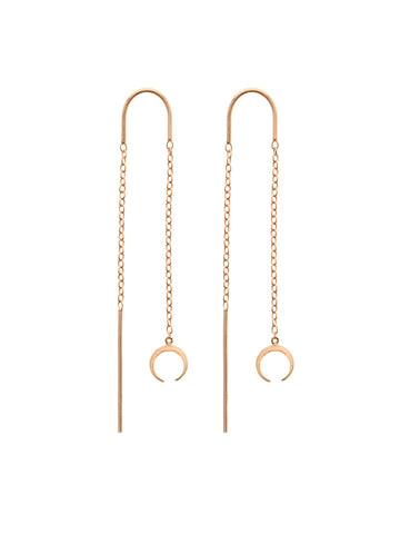 CRESCENT Threaders 14k Rose Gold Dip