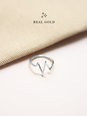 [REAL GOLD] Heartbeat Ring 18k White Gold