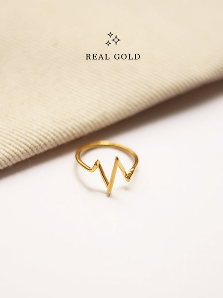 [REAL GOLD] Heartbeat Ring 16.8k Yellow Gold