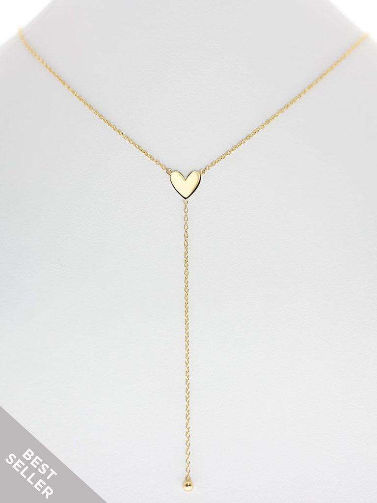 Heart Lariat Necklace 16.8k Yellow Gold Dip