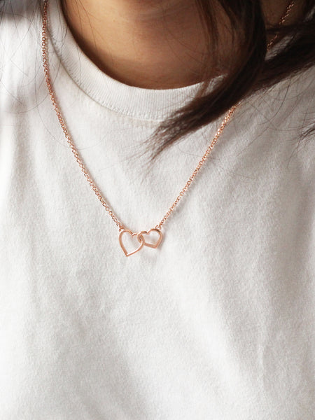 HEARTS TOGETHER Necklace 14k Rose Gold Dip