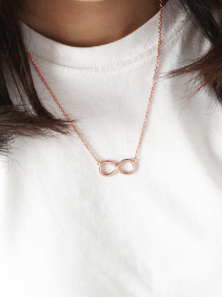 INFINITY Necklace 14k Rose Gold Dip