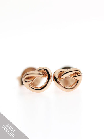 KNOTTED HEART Ear Studs 14k Rose Gold Dip