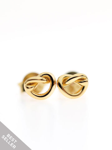 KNOTTED HEART Ear Studs 16.8k Yellow Gold Dip